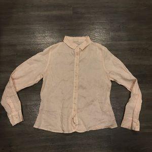 CP Shades Light Peach Pink Linen Shirt Small